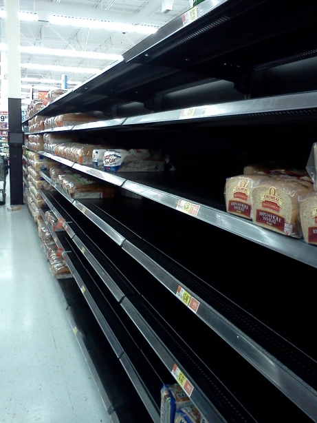 Bare shelves in the bakery aisle