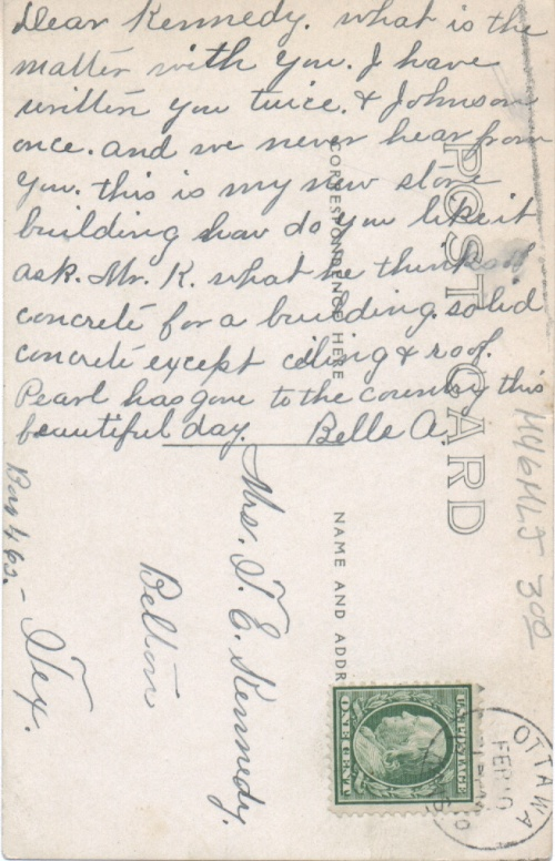 Bella A.'s letter to Mrs. T. E. Kennedy on the back of the postcard.
