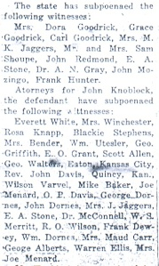 "Some of the witnesses subpoenaed for the preliminary hearing. From ""Are Preparing for Hard Fight at Preliminary,"" Daily Republican, November 7, 1925."