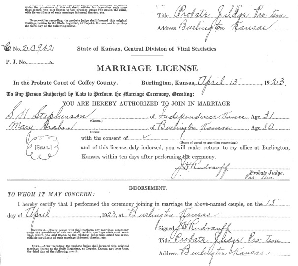 "Stevens Marriage Certificate: Judge Rudrauff recognized the first major suspect, Sherman ""Blackie"" Stevens (aka Stephenson) as a man whose marriage ceremony he had performed in 1923."