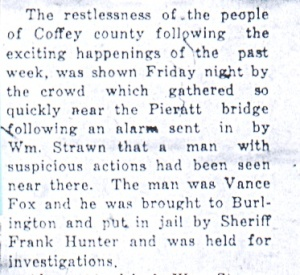 """Crowd Gathers in Response to Alarm Vance Fox Held,"" Daily Republican, June 6, 1925."