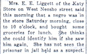 "E. E. Liggett's statement, from ""Deacon Stevens Claims He Was in Independence at the Time of the Murder,"" Daily Republican, June 2, 1925."