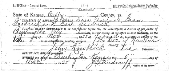 Preliminary Trial Subpoena: Many of the Knoblock's neighbors in Pleasant Township were subpoenaed for John Knoblock's preliminary hearing. This subpoena was for Dora, Grace, and Carl Goodrick. Note the subpoena indicates that Carl Goodrick could not be found.
