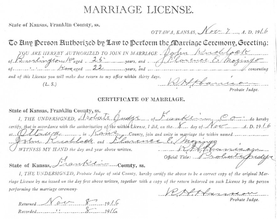 Knoblock Marriage Certificate: John Knoblock and Florence Mozingo were married in Franklin County, Kansas on November 8, 1916.
