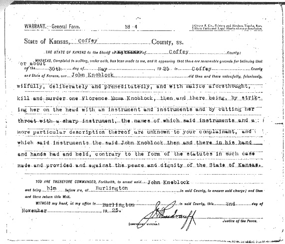 Arrest Warrant: The outside of the warrant ordering John Knoblock's arrest.