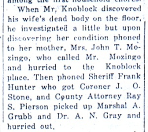 "From ""Skull Crushed and Throat Cut--Mrs. Knoblock is Found by Her Husband Saturday Afternoon,"" Daily Republican, June 1, 1925."