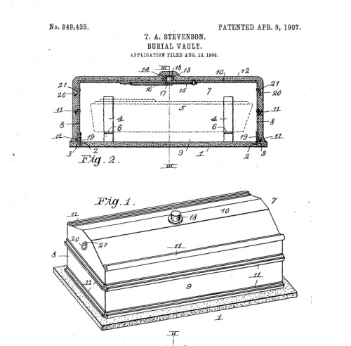 Stevenson Burial Vault, patented in 1906.