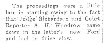 The judge is delayed by his slow-driving court reporter. (Daily Republican, Decembet 22, 1925.)