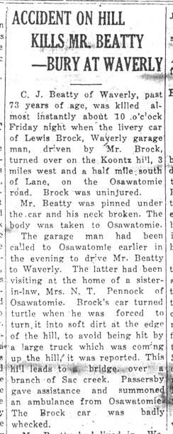 C.J. Beatty was killed in an automobile accident. (From the Daily Republican, June 29, 1925.)