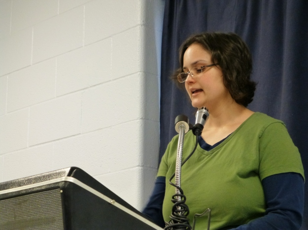 Me, reading from my book. Not one person fell asleep and started snoring during my entire presentation. Photo by Jim Deane.