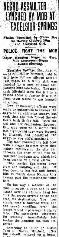 Reports of a lynching in the August 7, 1926 Emporia Gazette.