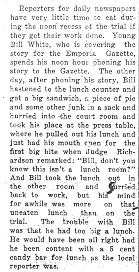 Everyone in the courtroom was fair game. John Redmond tattles on Gazette reporter Bill White in the January 18, 1926 Daily Republican.