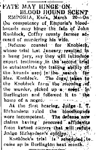 This story reveals the discourse regarding the bloodhounds evidence. Fayette Democrat (Arkansas), March 20, 1926.