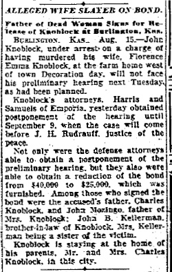John Knoblock's arrest is announced in the Kansas City Star (Missouri), August 15, 1925.