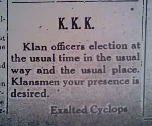KKK ad Daily Republican May 15 1926