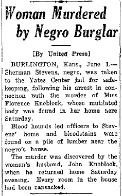 This story announced the murder and presumed suspect almost immediately after the murder occurred. Mexia Daily News (Texas), June 1, 1925.