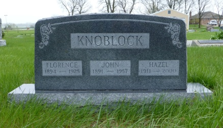 Florence Knoblock, John Knoblock, and John's third wife, Hazel, are all buried at Graceland Cemetery in Franklin County, Kansas.