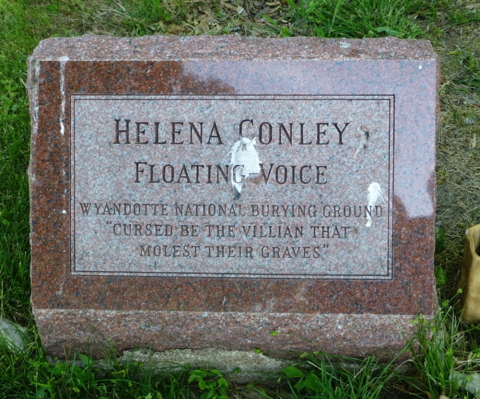 One of three sisters who fought the sale of the cemetery land, Helena Conley's marker includes a curse.