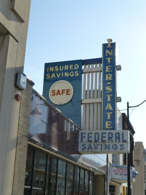A fabulous vintage sign for the Interstate Federal Savings building at 7th and Minnesota in Kansas City, Kansas.