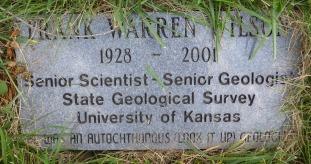"Frank Warren Wilson's marker reads, ""was an autochthonous (look it up) geologist."""