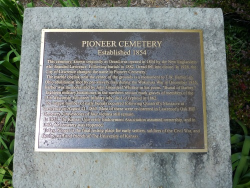 Pioneer Cemetery Plaque July 1 2013