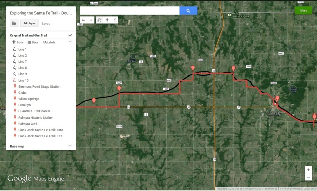 My very first Google Map Engine map. The black line is the Santa Fe Trail; the red line is the route we followed.