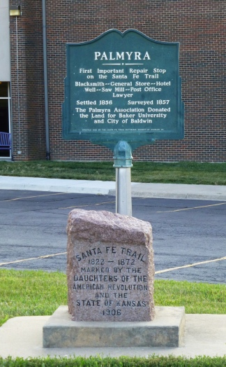 The old Historic Marker for Palmyra, which has since been incorporated into Baldwin City.
