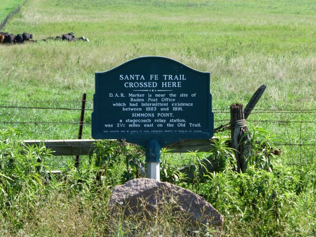 The Santa Fe Trail Crossed Here: commemorating Simmons Point and the Baden Post Office.
