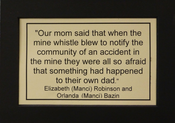 A family memory posted at the Miners Hall Museum.