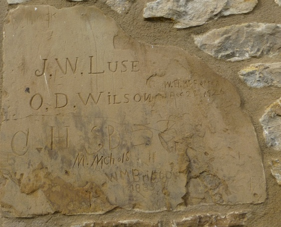 Methodists indulge in graffiti, too. This sandstone patch on the south side of the building bears many names.