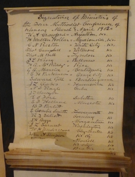 This ream of papers includes the signatures of all but three Methodist ministers in Kansas...in support of Prohibition.