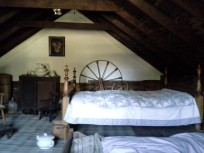 The upstairs loft in the cabin, which is much roomier than you might guess from looking at the outside.