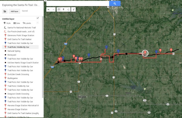 The official historic Santa Fe Trail route is marked in black; our path, which is restricted to roads, is marked in red. Important locations have pins. Click on the map to explore in detail. (This map was created with Google Map Engine Lite.)