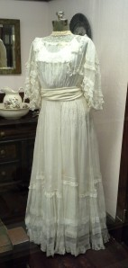 Three generations of women wore this wedding dress: Clarissa Allen wore it in 1908; her daughter Mary Jane Nesselrode wore it in 1940, and Mary Jane's daughter Clarissa May Mears wore it in 1964.