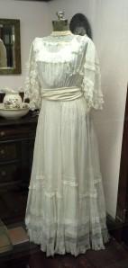 Three generations of women wore this wedding dress: Clarissa Allen wore it in 1908; her daughter Mary Jane Nesselrode wore it in 1940, and Mary Jane's daughter Clarissa May Mears wore it in 1964.