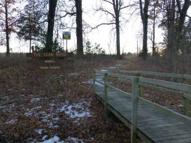 Cross the bridge to access the trail ruts.