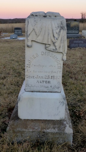 The marker for Moses Dissinger is in German.
