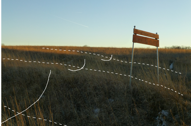 Curved solid lines indicate the width of each rut. The dashed lines indicate the path.