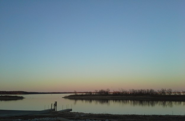 Clinton Lake at dusk.