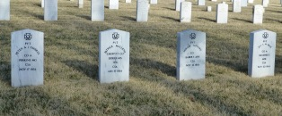 Graves of Confederate soldiers at Fort Scott National Cemetery.