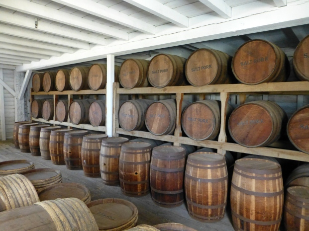 Barrels of provisions in the Quartermaster Storehouse.