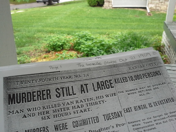 Spending a rainy afternoon on the front porch reading newspaper clippings from more than 100 years ago.