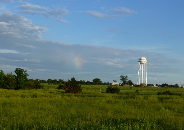 Sun dog near Princeton, Kansas water tower