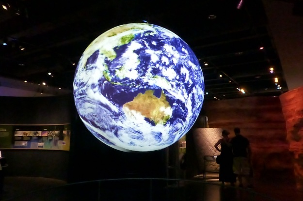 Our favorite part of the exhibit: a video on fresh water availability projected to create a 3D world.