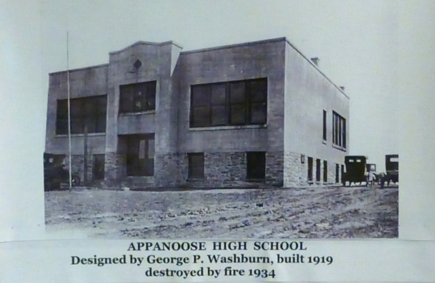 The original Appanoose High School, which burned down in 1934.