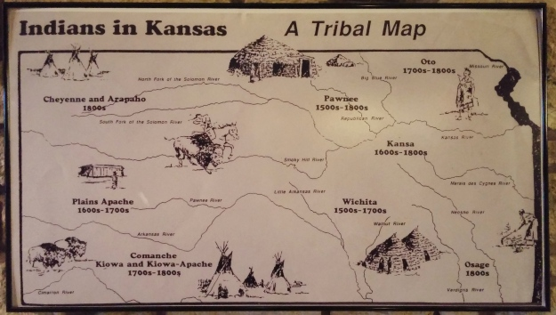 A map of the earliest tribes to live in the area now called Kansas.