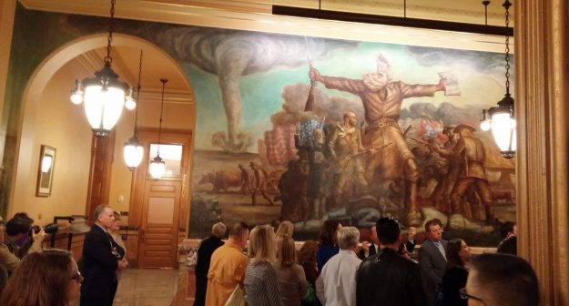 Touring the Kansas capitol with my Leadership Franklin County class in spring 2016. John Steuart Curry's murals remind us the road to progress is hard.